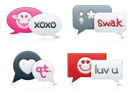 Smooth-stile chat bolle con messaggi romantici su ogni testo, creati da Contributor (me) Archivio Fotografico - 11980696