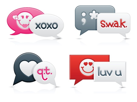 instant messaging: Smooth-style chat bubbles with romantic messages on each; text created by contributor (myself) Illustration