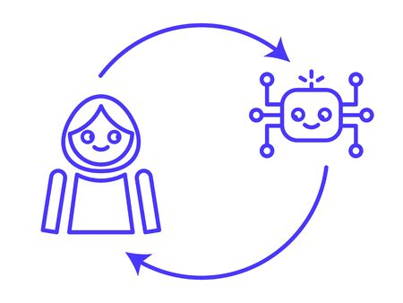Human in the loop / human interacting with AI system infographic. AI system learning from interacting with human and augmenting human decision-making. Vector Illustration