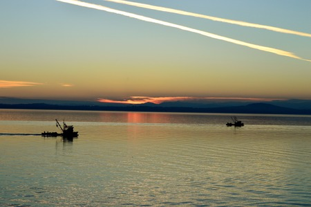 Purse seiner fishing boats heading home at sunset