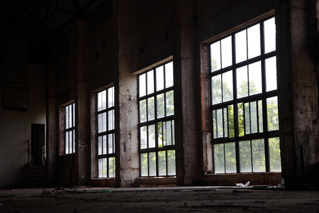 discard: Large windows of the old factory Stock Photo