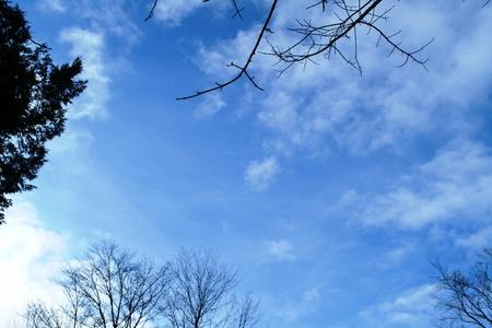 blue sky-witte wolken Stockfoto