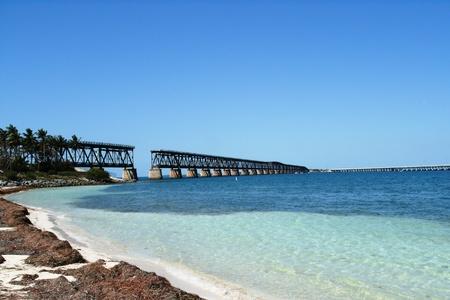 old bridge-beach-Fl. Stockfoto