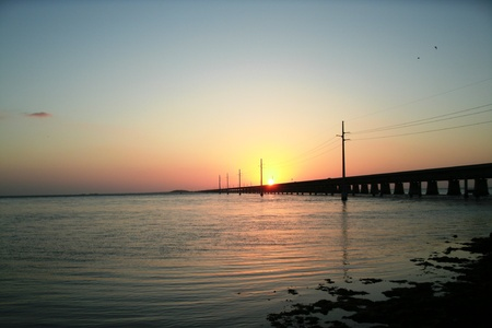 sunset-7 mile bridge-Marathon,Fl. Stockfoto