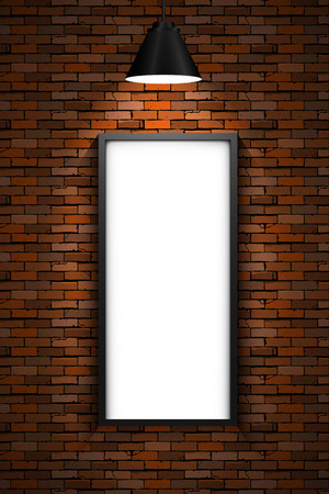 brick and mortar: Red brick wall with illuminated picture frame by a lamp. Eps10 vector illustration.