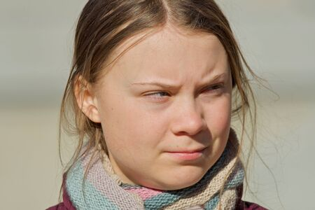 STOCKHOLM, SWEDEN - MARCH 22, 2019: Greta Thunberg climate activist demonstrating on Fridays