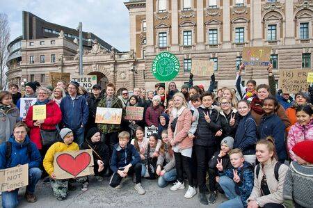 STOCKHOLM, SWEDEN - APRIL 05, 2019: Greta Thunberg climate activist demonstrating on Fridays