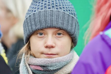 STOCKHOLM, SWEDEN - DECEMBER 20, 2019: Greta Thunberg climate activist demonstrating on Fridays. Editorial