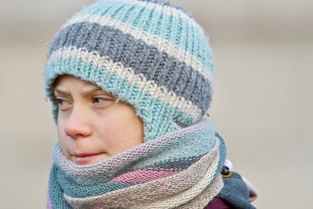 STOCKHOLM, SWEDEN - JANUARY 10, 2020: Greta Thunberg climate activist school strikes on Fridays outside the Swedish Parliament. Editorial