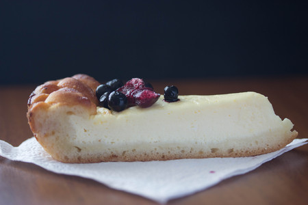 custard slices: Blueberry Cream Cheese cake on white pulp