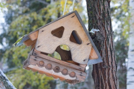 birds house on a tree in a winter forest Stock Photo