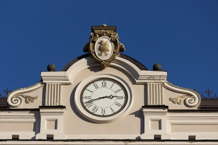 Close up of building with a clock. blue sky Stock Photo