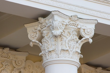 academia: Vintage Old white Column with beautiful pattern on it