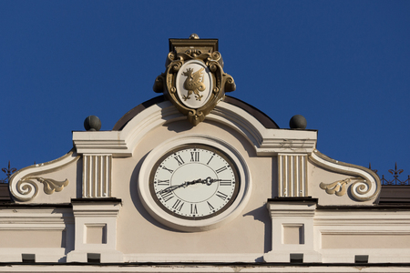 mersey: Close up of building with a clock. blue sky Stock Photo