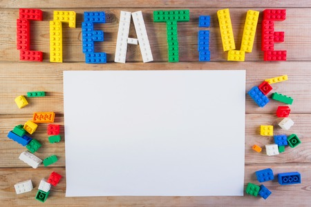 word creative made from lego. child creativity concept Archivio Fotografico