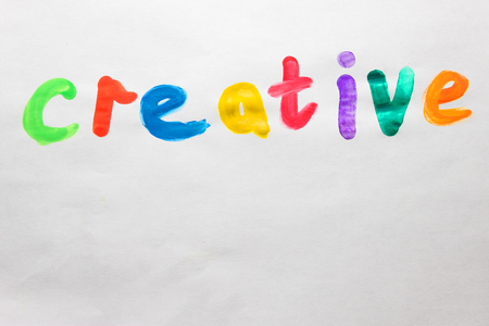 work cretive write with colorful paints. copy space