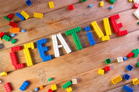 word creative made from lego. child creativity concept Stok Fotoğraf