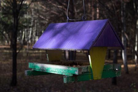 bird feeders. tree house for the birds, cheerful apartment Reklamní fotografie