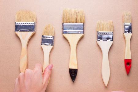 construction brushes different sizes. choose brush concept