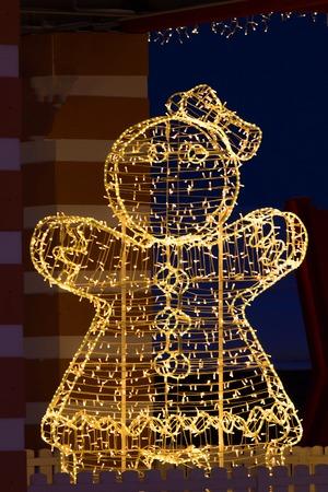 christmas decorations on the street. beautiful illumination