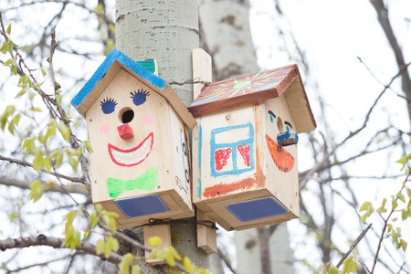 simple wooden bird house in a park