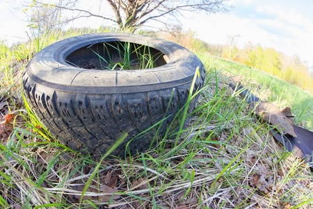nature pollution concept. automobile wheel on green grass