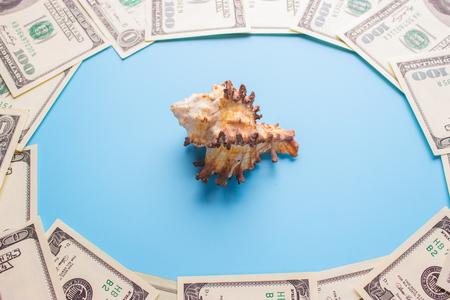 100 dollar bills. saving money for vacation travel concept Imagens