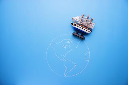 ship on the earth. trave around the world concept
