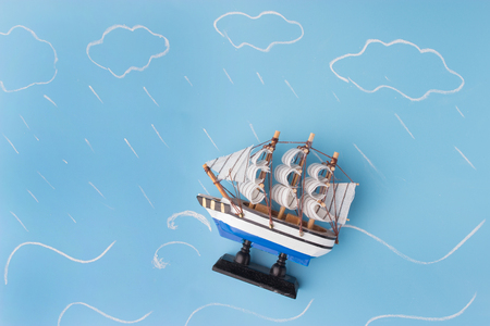 ship model in a storm. danger concept
