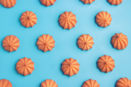 cookies on blue background. Top view. texure