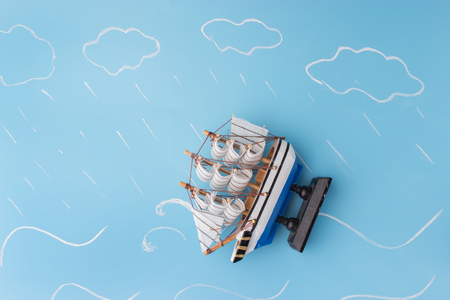 ship model in a storm. danger concept