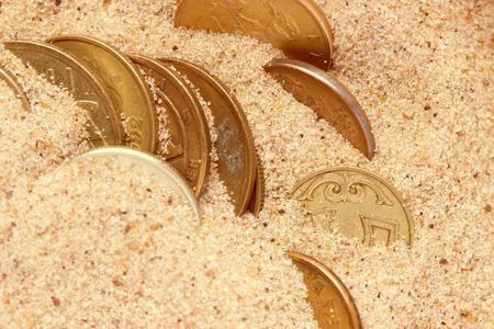 Old treasure in sand. treasure chest concept