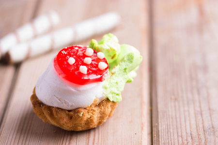 cupcake in the form of a red mushrooms 写真素材