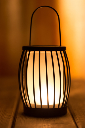 black lantern with a candle. close up