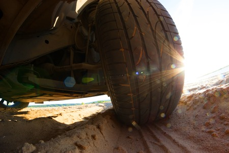 view under big off-road car on sand