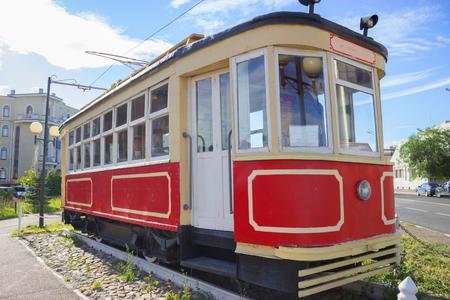 Vintage tram in the city center of Kazan 版權商用圖片