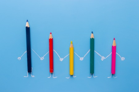 colorful pencils family. a scketch. creativity concept Banque d'images
