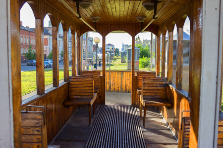 The inside of an old empty tram Stock Photo