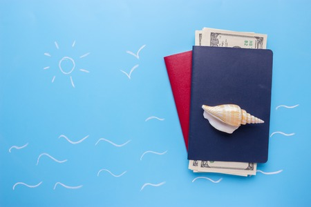travel concept. international passprts on blue background Stock Photo