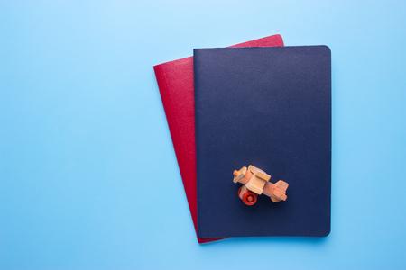 travel concept. international passprts on blue background Zdjęcie Seryjne