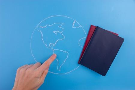 choose a travel destination concept. map and passports