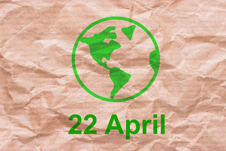 earth day in 22 april concept. green text Stock Photo