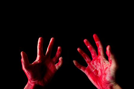 murderer regret his crime concept. bloody hand