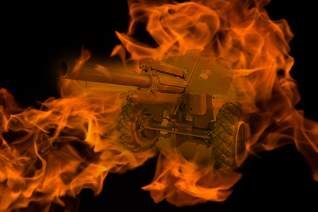 tank in the fire. war concept. double exposure