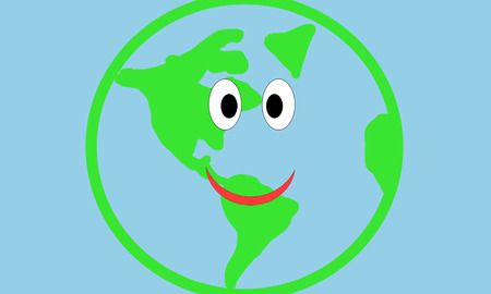 illustration of smile earth planet. earth day Stock Photo