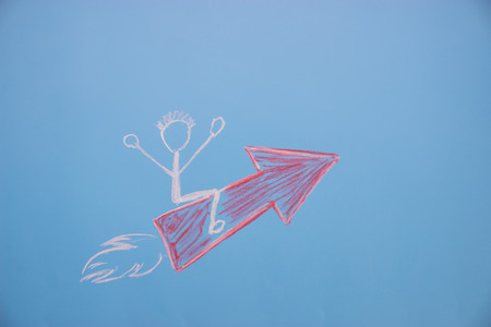 Start-up - Business and Innovation Concept. character sit on the arrow