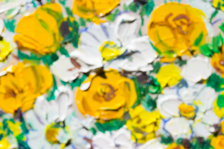 Painting picture of blooming flowers. blurred image Stock Photo