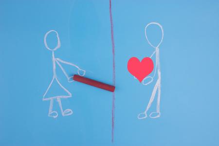 break up concept. border between two people