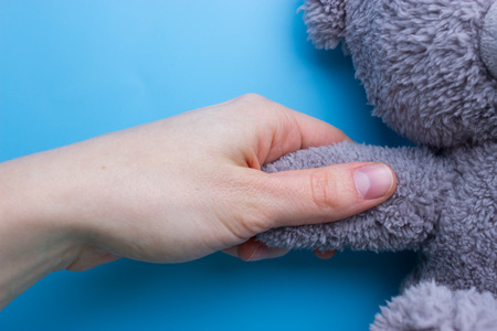 girl hands holding a teddy bear on blue background Stock Photo