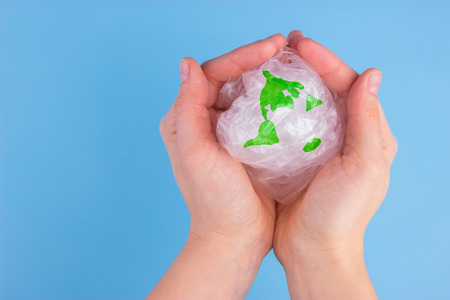 Pollution problem concept, say no to plastic bags